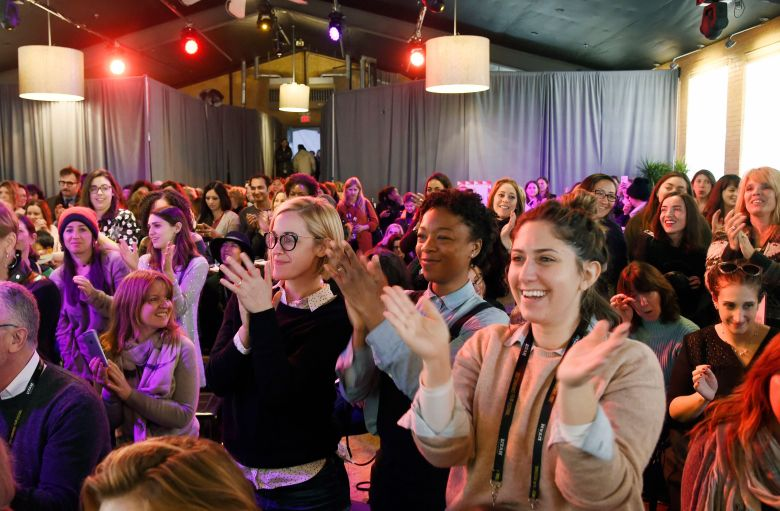 Audience members stand and applaud during a speech at the Women at Sundance Brunch during the 2017 Sundance Film Festival, in Park City, Utah2017 Sundance Film Festival - Women at Sundance Brunch, Park City, USA - 23 Jan 2017