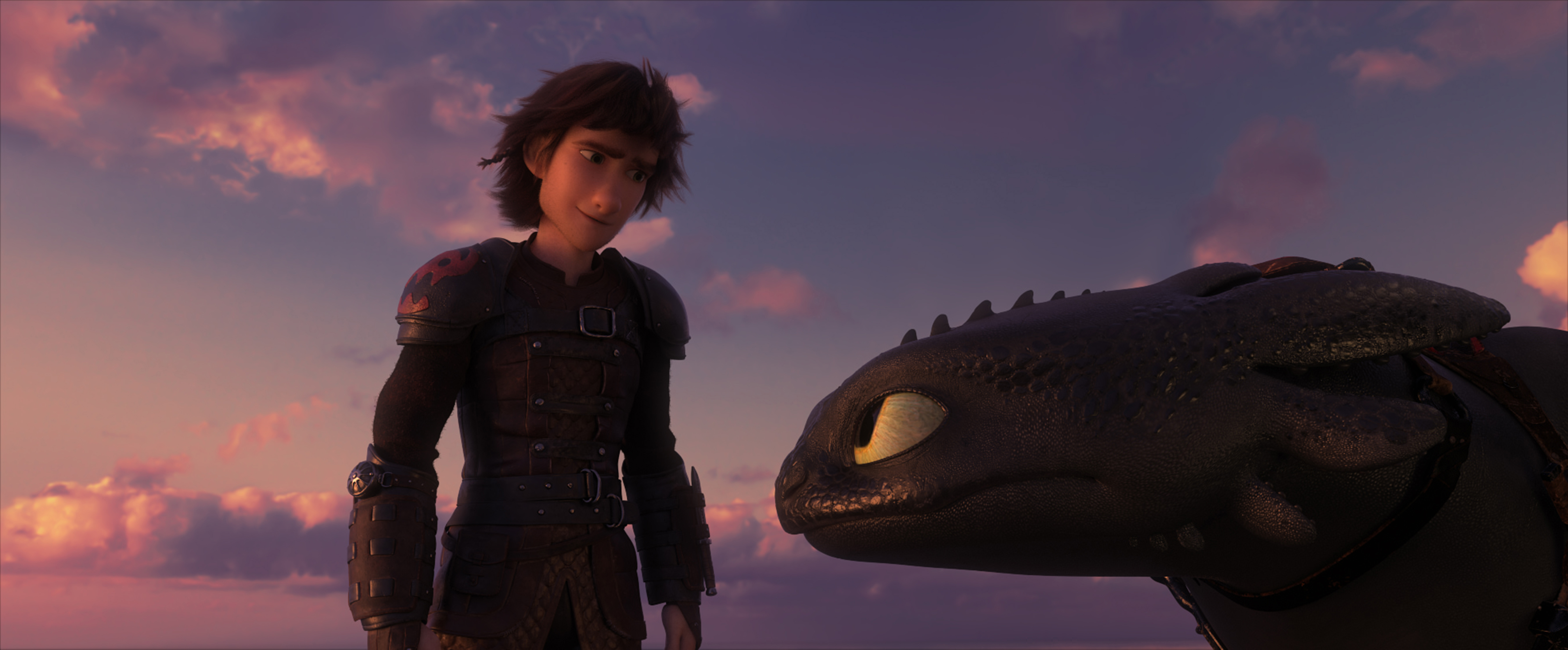 Hiccup (Jay Baruchel) and his Night Fury dragon Toothless in DreamWorks Animation's How To Train Your Dragon: The Hidden World, directed by Dean DeBlois.