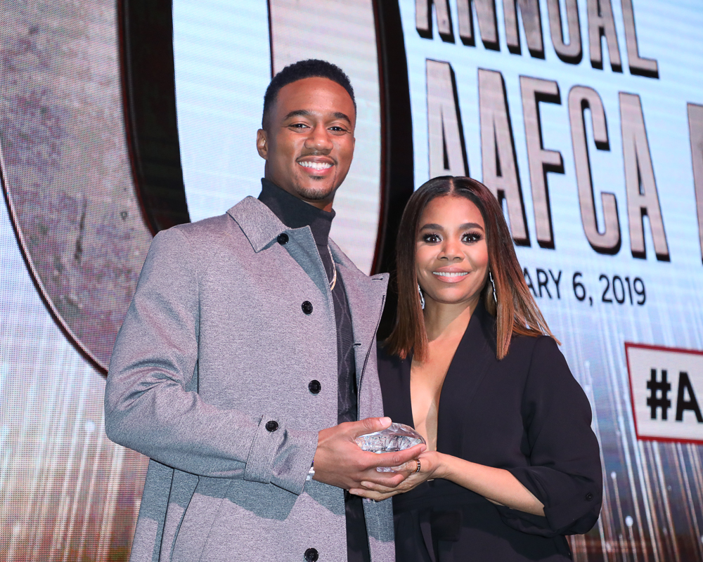 Jessie T. Usher and Regina Hall at the 10th Annual AAFCA Awards