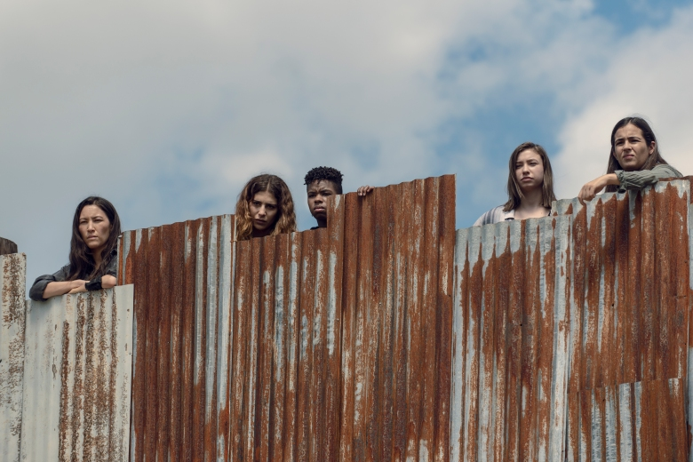 Eleanor Matsuura as Yumiko, Nadia Hilker as Magna, Angel Theory as Kelly, Alanna Masterson as Tara Chambler, Katelyn Nacon as Enid - The Walking Dead _ Season 9, Episode 11 - Photo Credit: Gene Page/AMC