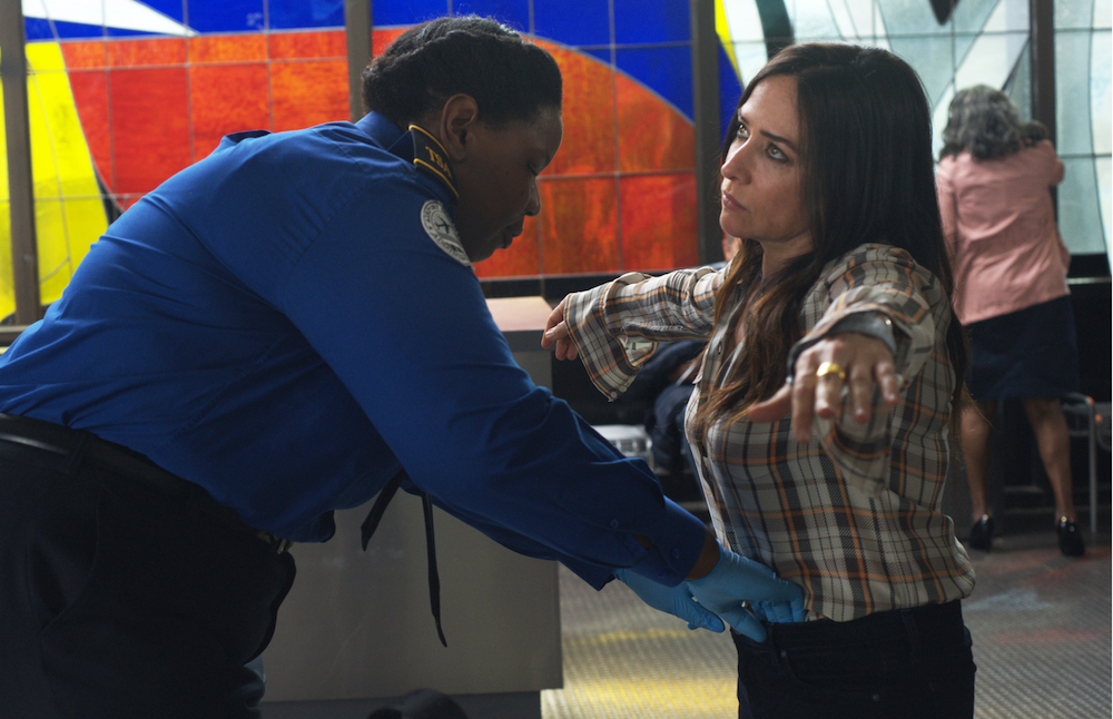 "BETTER THINGS ""Chicago"" Episode 1 (Airs Thursday, February 28 10:00 pm/ep) -- Pictured: (l-r) Liz Jenkins as TSA Agent, Pamela Adlon as Sam Fox. CR: Suzanne Tenner/FX"