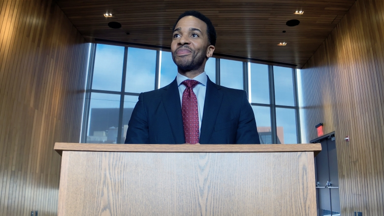 André Holland as Ray Burke in High Flying Bird, directed by Steven Soderbergh.Photo by Peter Andrews