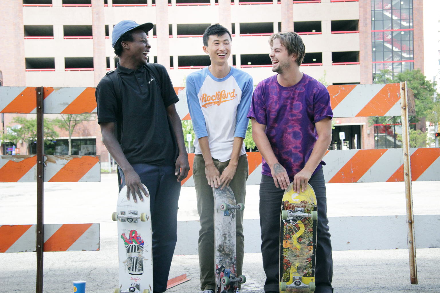 Minding The Gap- Compiling over 12 years of footage shot in his hometown of Rockford, IL, in MINDING THE GAP Bing Liu searches for correlations between his skateboarder friends' turbulent upbringings and the complexities of modern-day masculinity. As the film unfolds, Bing captures 23-year-old ZackÕs tumultuous relationship with his girlfriend deteriorate after the birth of their son and 17-year-old Keire struggling with his racial identity as he faces new responsibilities following the death of his father. While navigating a difficult relationship between his camera, his friends, and his own past, Bing ultimately weaves a story of generational forgiveness while exploring the precarious gap between childhood and adulthood. Keire Johnson, Bing Liu, Zack Mulligan, shown. (Photo credit Hulu)
