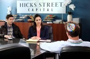"BROOKLYN NINE-NINE -- ""He Said, She Said"" Episode 610 -- Pictured: (l-r) Andy Samberg as Jake Peralta, Melissa Fumero as Amy Santiago -- (Photo by: Trae Patton/NBC)"
