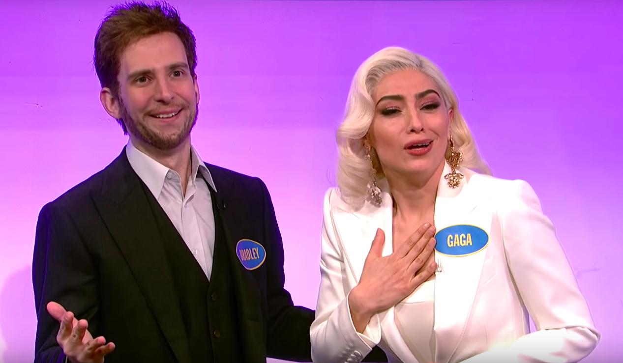 'SNL' Mocks Lady Gaga's '100 People in a Room' Speech on 'Celebrity Family Feud'