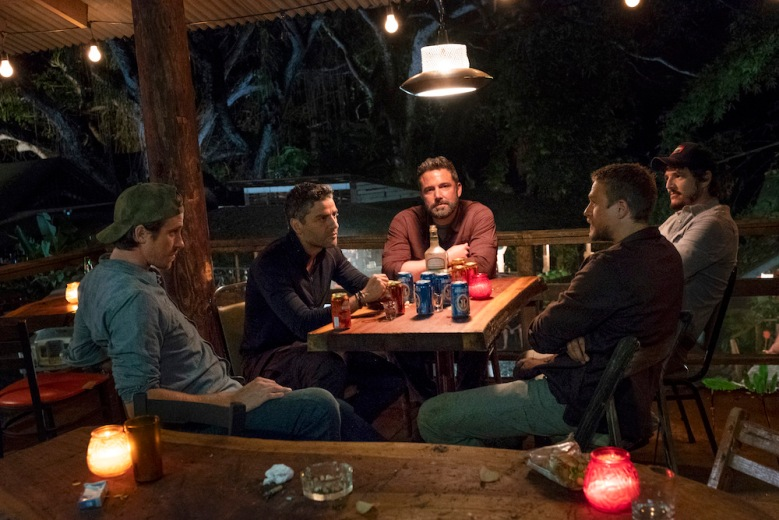 "TRIPLE FRONTIER cast (2019) - pictured L-R: Garrett Hedlund (""Ben""), Oscar Isaac (""Pope""), Ben Affleck (""Redfly""), Charlie Hunnam (""Ironhead""), and Pedro Pascal (""Catfish"")Photo by Melinda Sue Gordon / Courtesy of NetflixTF_DAY31-0124.RAF"