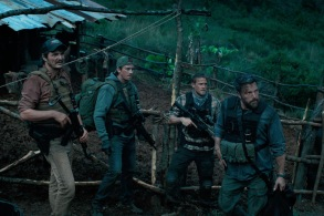 "TRIPLE FRONTIER (2019) - pictured L-R: Pedro Pascal (""Catfish""), Garrett Hedlund (""Ben""), Charlie Hunnam (""Ironhead""), and Ben Affleck (""Redfly"")Photo Courtesy of Netflix"