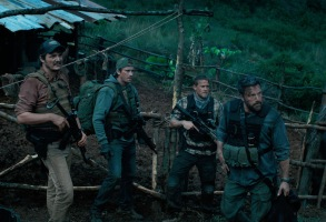 """TRIPLE FRONTIER (2019) - pictured L-R: Pedro Pascal (""""Catfish""""), Garrett Hedlund (""""Ben""""), Charlie Hunnam (""""Ironhead""""), and Ben Affleck (""""Redfly"""")Photo Courtesy of Netflix"""