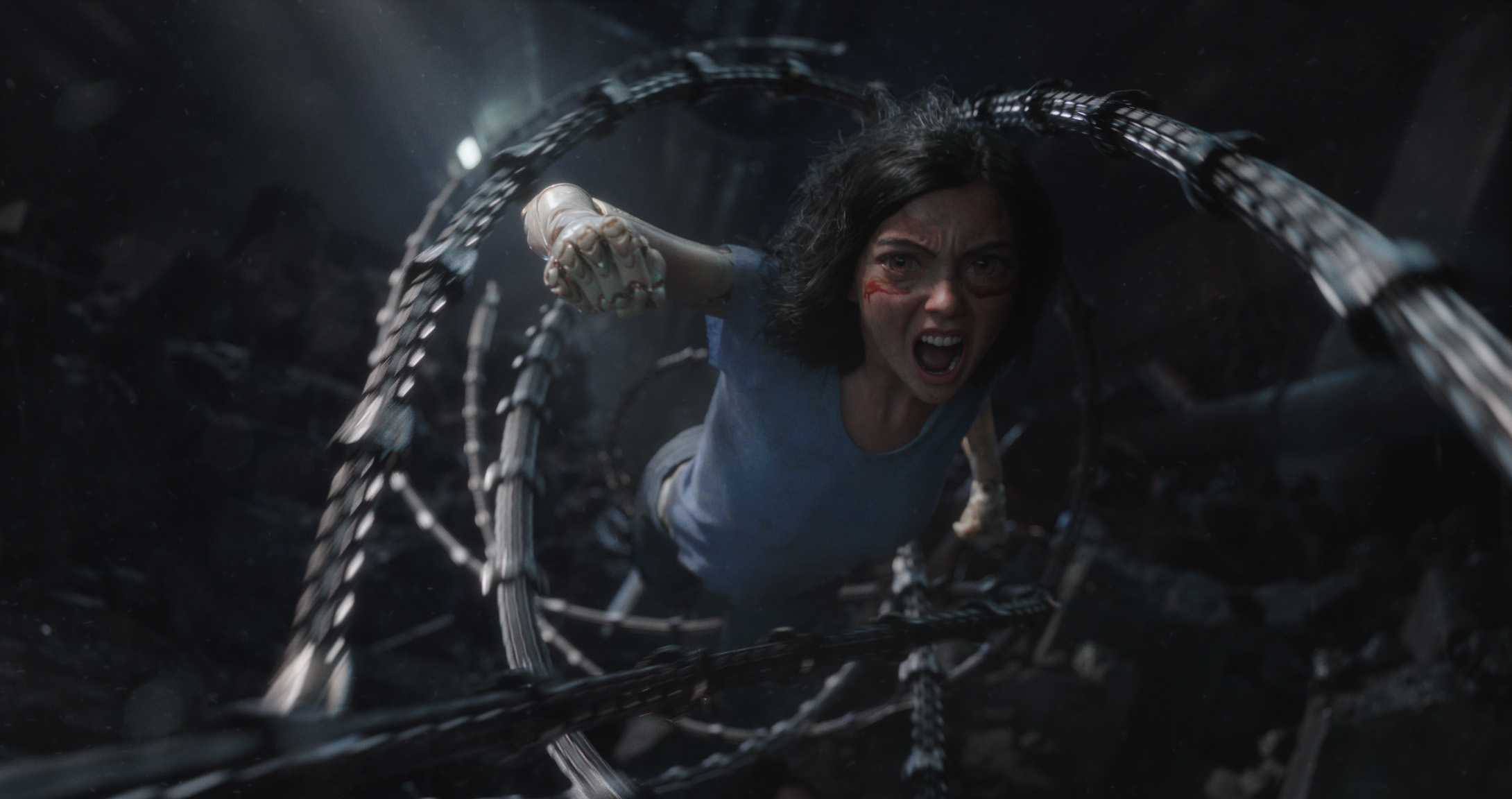 ABA_110_UNW_0680_v0690.87450 – Rosa Salazar stars as Alita in Twentieth Century Fox's ALITA: BATTLE ANGEL. Photo Credit: Courtesy Twentieth Century Fox.