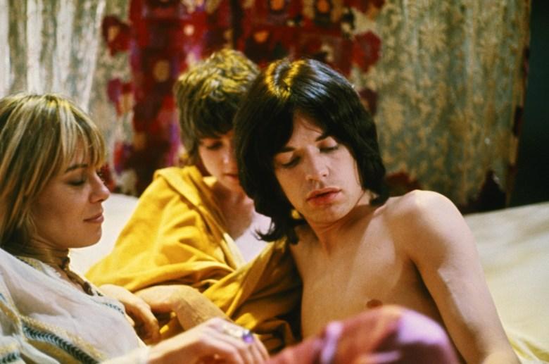 Anita Pallenberg, Michele Breton, and Mick Jagger