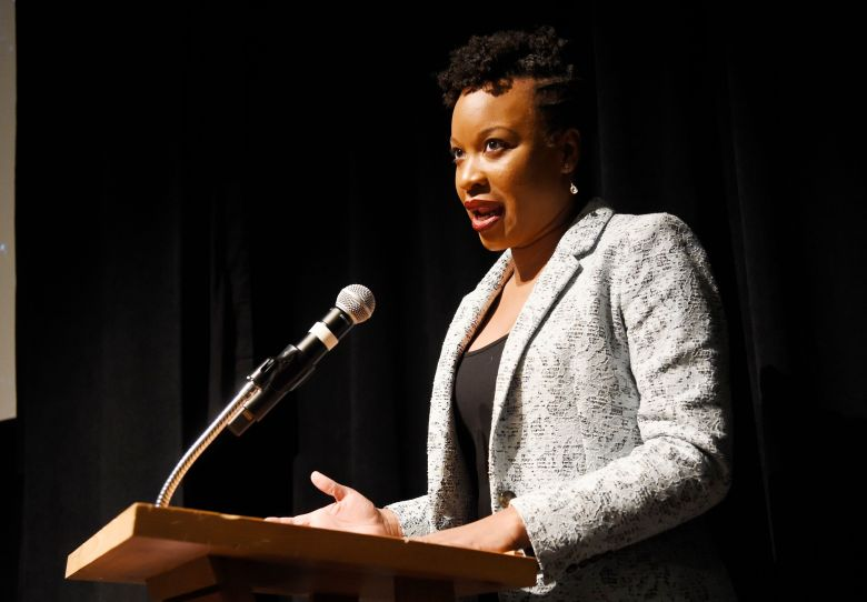 """Chinonye Chukwu, writer/director of """"Clemency,"""" addresses the audience before the screening of her film at the LIbrary Center Theatre during the 2019 Sundance Film Festival, in Park City, Utah2019 Sundance Film Festival - """"Clemency"""" Premiere, Park City, USA - 27 Jan 2019"""