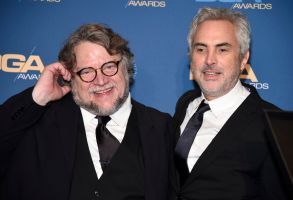"Alfonso Cuaron, Guillermo del Toro. Guillermo del Toro, left, poses in the press room with Alfonso Cuaron, winner of the award for outstanding directorial achievement in feature film for ""Roma,"" at the 71st annual DGA Awards at the Ray Dolby Ballroom, in Los Angeles71st Annual DGA Awards - Press Room, Los Angeles, USA - 02 Feb 2019"
