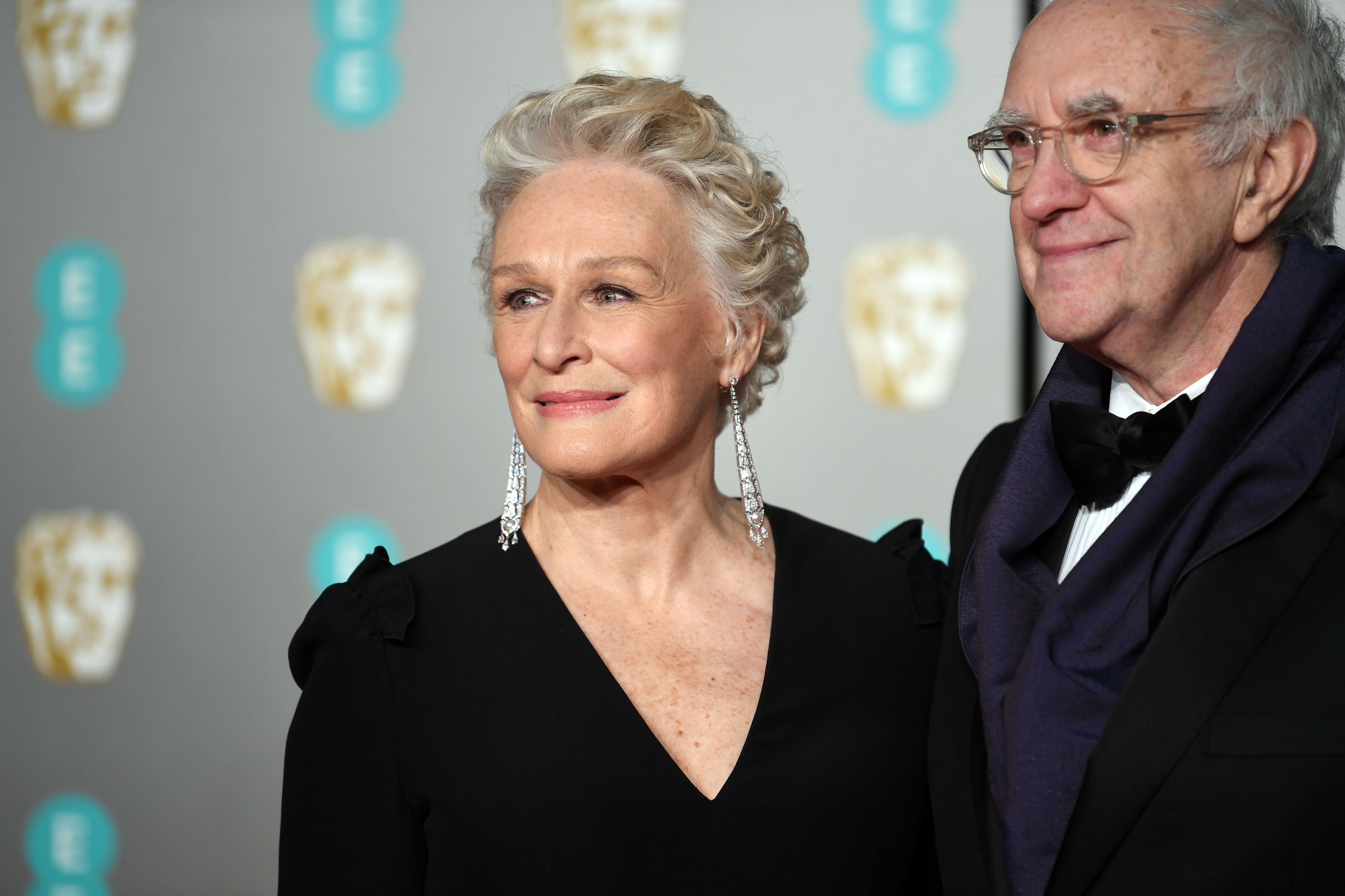 Glenn Close and British actor Jonathan Pryce attend the 72nd annual British Academy Film Awards at the Royal Albert Hall in London, Britain, 10 February 2019. The ceremony is hosted by the British Academy of Film and Television Arts (BAFTA).Arrivals - 2019 EE British Academy Film Awards, London, United Kingdom - 10 Feb 2019