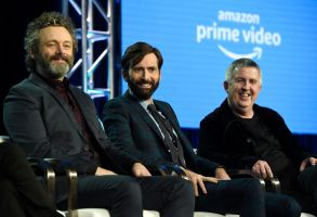 "Michael Sheen, David Tennant, Douglas Mackinnon. Michael Sheen, from left, David Tennant and executive producer/director Douglas Mackinnon participate in the Amazon ""Good Omens"" panel at the Winter Television Critics Association Press Tour, in Pasadena, Calif2019 Winter TCA - Amazon, Pasadena, USA - 13 Feb 2019"