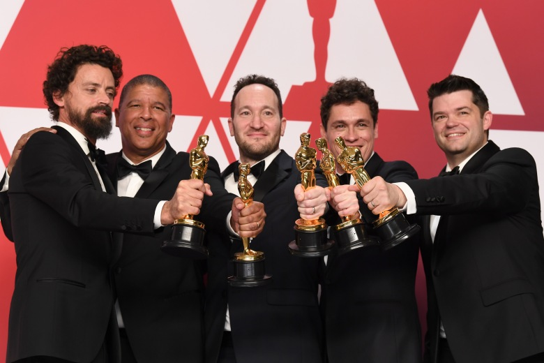Bob Persichetti, Peter Ramsey, Rodney Rothman,Phil Lord and Christopher Miller - Animated Feature - 'Spider-Man: Into the Spider-Verse'91st Annual Academy Awards, Press Room, Los Angeles, USA - 24 Feb 2019