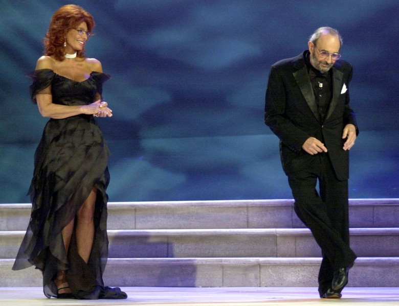 LOREN DONEN Italian Actress Sophia Loren looks at US Director Stanley Donen dancing on the stage, during the awarding ceremony at the 61st edition of the Venice Film Festival in Venice, northern Italy, . Donen was awarded with the Golden Lion for his careerITALY VENICE FILM FESTIVAL, VENICE, Italy