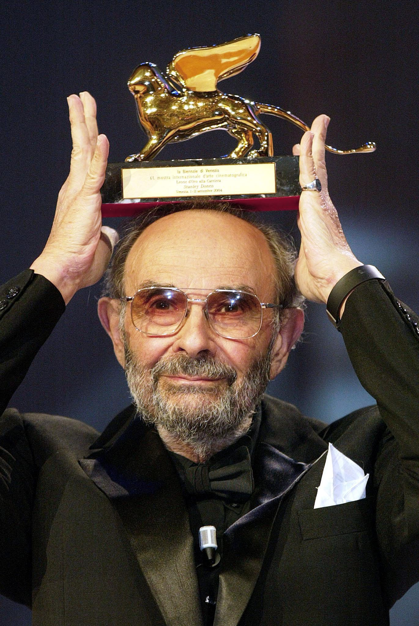 Us Film Director Stanley Donen Poses with the Golden Lion For Lifetime Achievement Award That He was Awarded with at the 61st International Exhibition of Cinema Art Better Known As Venice Film Festival on Saturday 11 September 2004 Italy VeniceItaly Cinema - Sep 2004