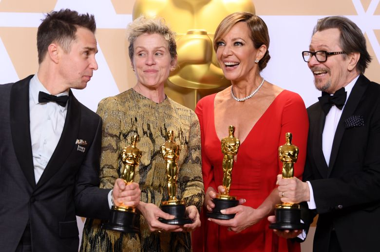 Sam Rockwell - Supporting Actor - 'Three Billboards Outside Ebbing, Missouri', Frances McDormand - Lead Actress - 'Three Billboards Outside Ebbing, Missouri', Allison Janney - Supporting Actress - 'I, Tonya' and Gary Oldman - Lead Actor - 'Darkest Hour'90th Annual Academy Awards, Press Room, Los Angeles, USA - 04 Mar 2018