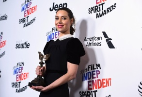 "Aubrey Plaza poses in the press room with the award for best first feature for ""Ingrid Goes West"" at the 33rd Film Independent Spirit Awards, in Santa Monica, Calif2018 Film Independent Spirit Awards - Press Room, Santa Monica, USA - 03 Mar 2018"