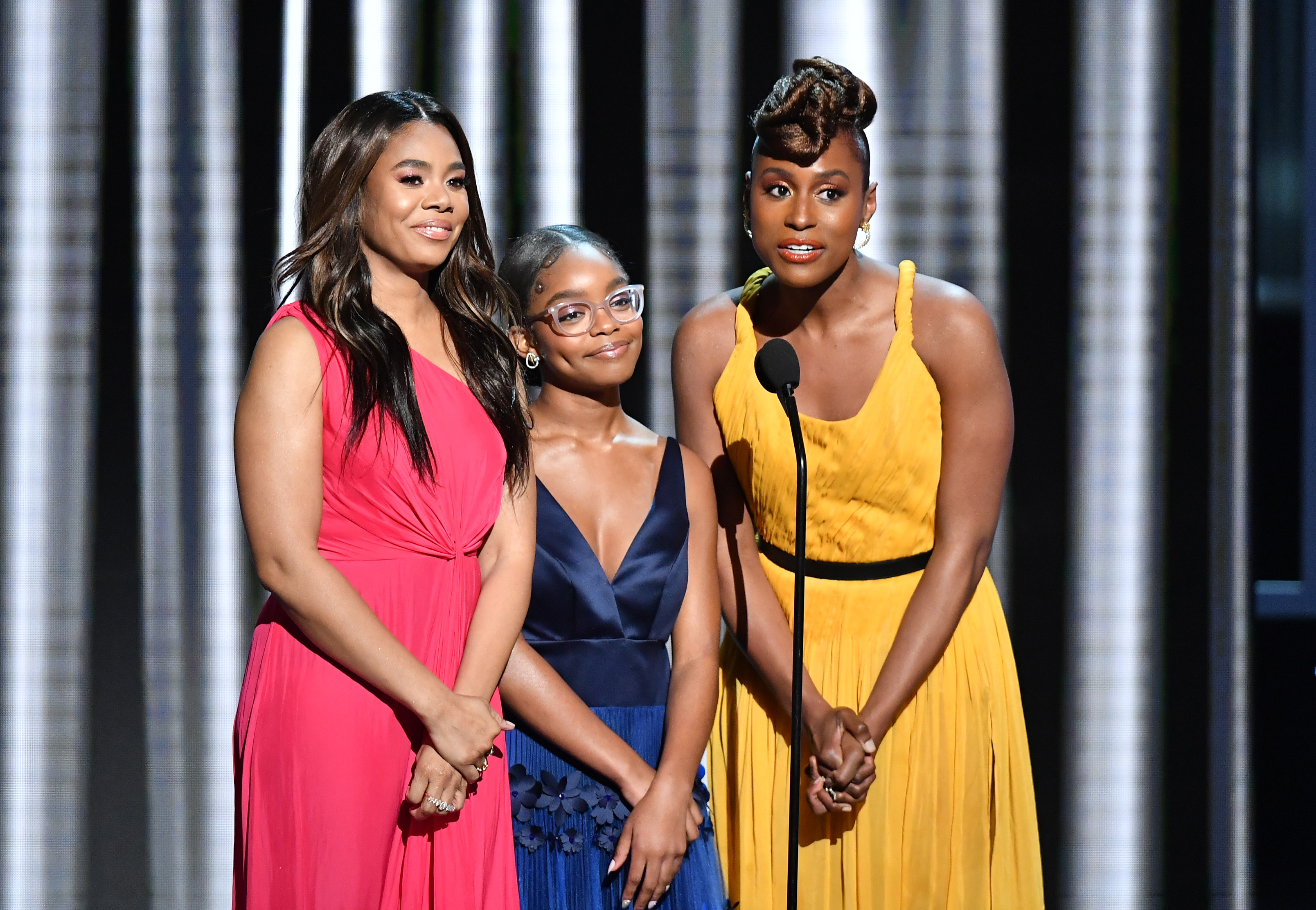 HOLLYWOOD, CALIFORNIA - MARCH 30: (L-R) Regina Hall, Marsai Martin, and Issa Rae speak onstage at the 50th NAACP Image Awards at Dolby Theatre on March 30, 2019 in Hollywood, California. (Photo by Earl Gibson III/Getty Images for NAACP)