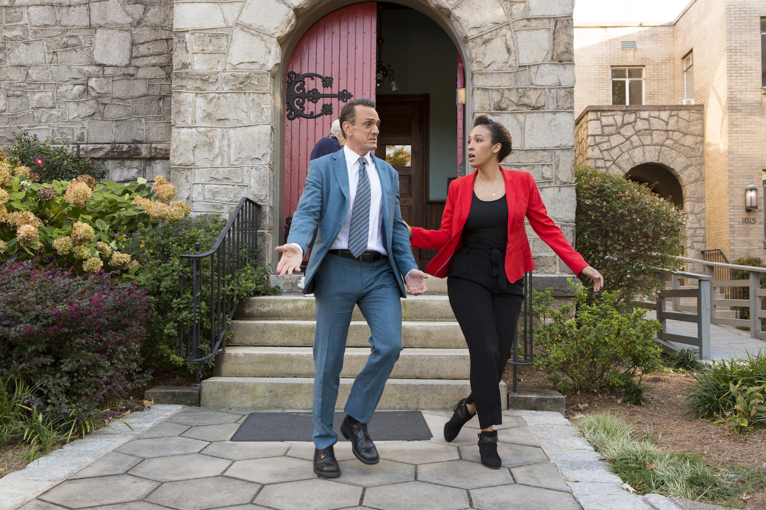 Hank Azaria as Jim Brockmire, Tawny Newsome as Gabby Taylor - Brockmire _ Season 3, Episode 3 - Photo Credit: Kim Simms/IFC