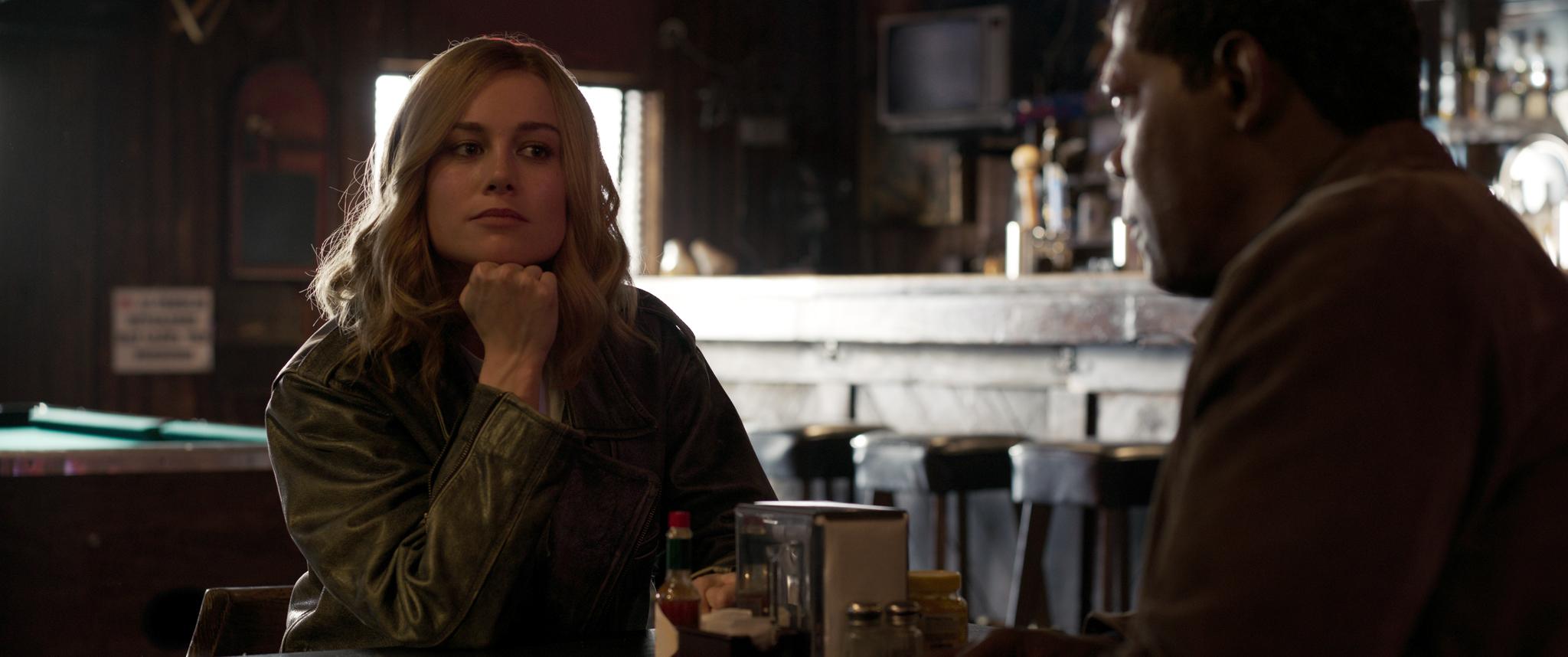 Marvel Studios' CAPTAIN MARVEL..L to R: Captain Marvel (Brie Larson) and Nick Fury (Samuel L. Jackson) ..Photo: Film Frame..©Marvel Studios 2019