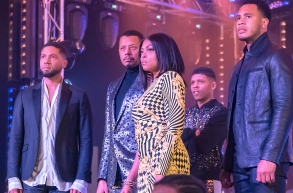 "EMPIRE: L-R: Jussie Smollett, Terrence Howard, Taraji P. Henson, Bryshere Y. Gray and Trai Byers in the ""Had It From My Father"" fall finale episode of EMPIRE airing Wednesday, Dec. 5 (8:00-9:00 PM ET/PT) on FOX. ©2018 Fox Broadcasting Co. CR: Matt Dinerstein/FOX."