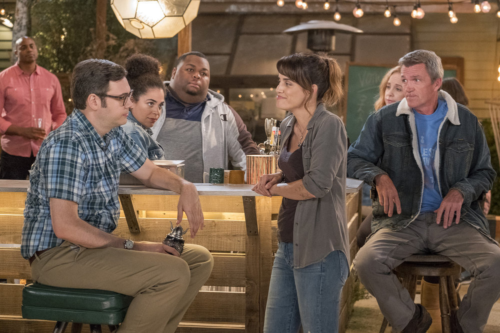 "ABBY'S -- ""Rule Change"" Episode 102 -- Pictured: (l-r) Nelson Franklin as Bill, Kimia Behpoornia as Rosie, Leonard Ouzts as James, Natalie Morales as Abby, Jessica Chaffin as Beth, Neil Flynn as Fred -- (Photo by: Ron Batzdorff/NBC)"
