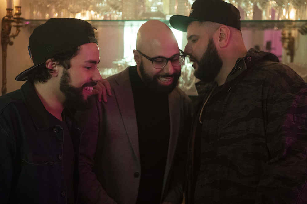 "Ramy -- ""A Black Spot on the Heart"" - Episode 103 - So let me get this straight, you don't do drugs, but you'll have sex with women you're not married to…? That's not nuanced, it's hypocritical. Ramy (Ramy Youssef), Ahmed (Dave Merheje), and Mo (Mohammed Amer), shown. (Photo by: Craig Blankenhorn/Hulu)"