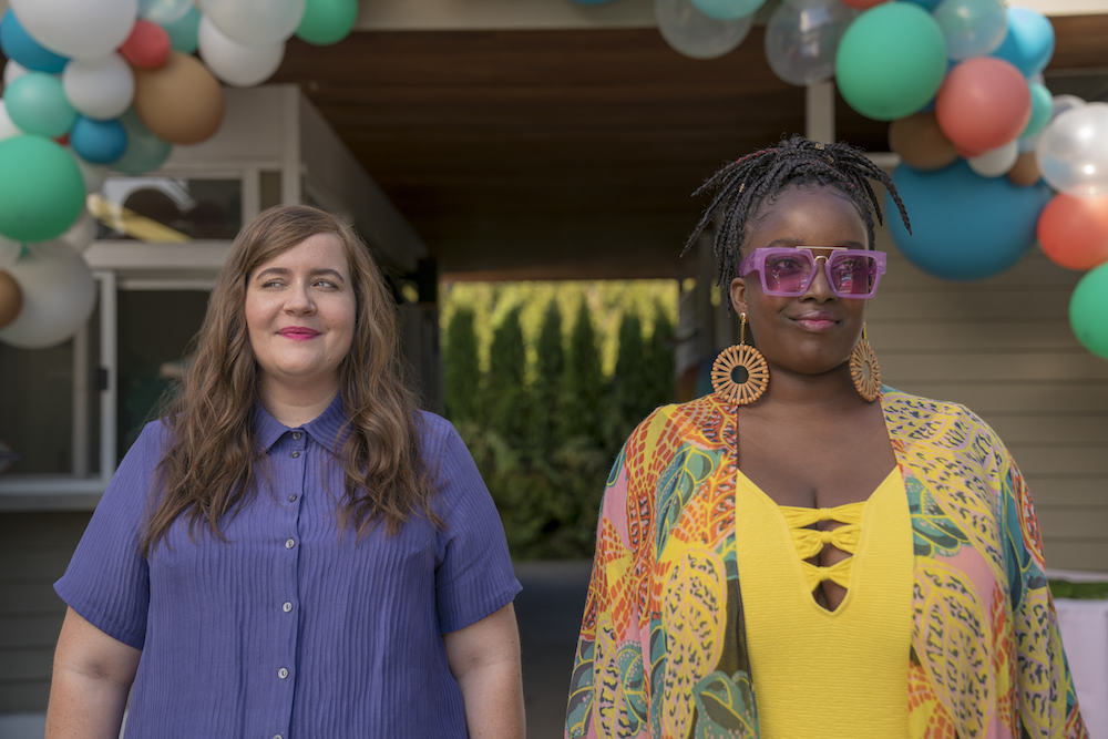 Shrill -- Episode 104 -- Annie & Fran attend the Fat Babe Pool Party. Annie is so empowered by the experience and so furious with her boss, Gabe, that she posts a body positive article to the paper's website that explains exactly what it's like to be a fat woman in today's world. Annie (Aidy Bryant), Fran (Lolly Adefope) shown. (Photo by: Allyson Riggs)