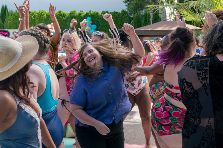 Shrill -- Episode 104 -- Annie & Fran attend the Fat Babe Pool Party. Annie is so empowered by the experience and so furious with her boss, Gabe, that she posts a body positive article to the paper's website that explains exactly what it's like to be a fat woman in today's world. Annie (Aidy Bryant) shown. (Photo by: Allyson Riggs)