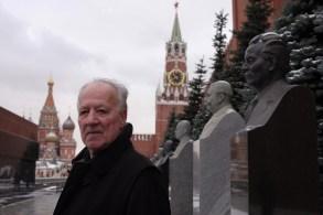 "Werner Herzog in front of the Kremlin in ""Meeting Gorbachev"""