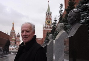 "Werner Herzog in front of the Kremlin in ""Meeting Gorbachev"""