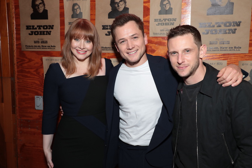 Bryce Dallas Howard, Taron Egerton and Jamie Bell attend a special footage presentation of Rocketman at the Troubadour presented by Paramount Pictures on Monday, March 18, 2019 in Los Angeles, California. (photo: Alex J. Berliner/ABImages)
