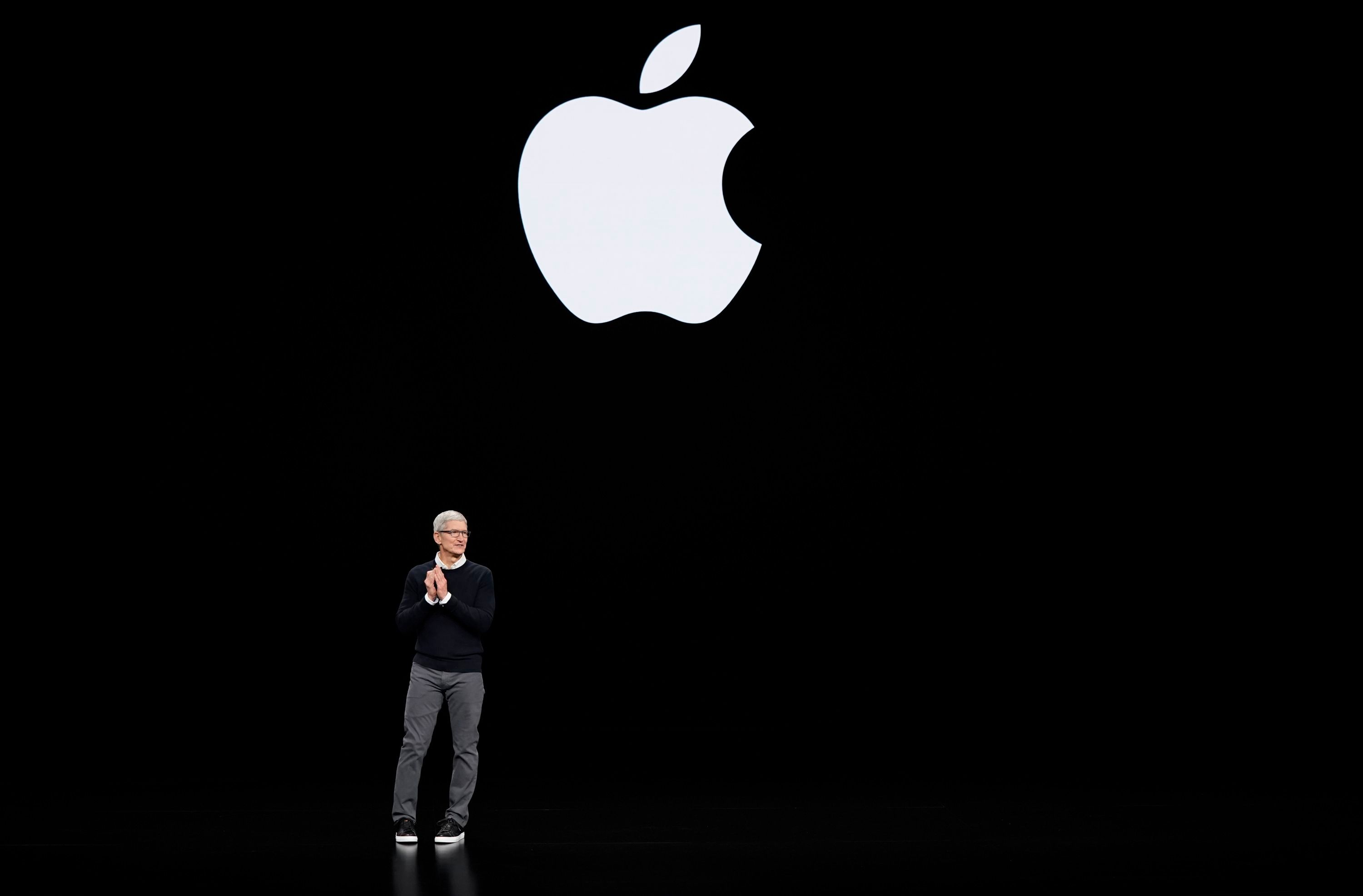 Apple CEO Tim Cook speaks at the Steve Jobs Theater during an event to announce new products, in Cupertino, CalifApple Streaming TV, Cupertino, USA - 25 Mar 2019