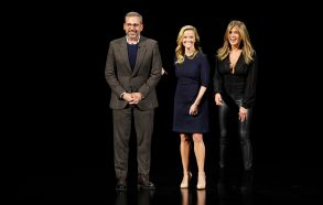From left, Steve Carell, Reese Witherspoon and Jennifer Aniston speak at the Steve Jobs Theater during an event to announce Apple new products, in Cupertino, CalifApple Streaming TV, Cupertino, USA - 25 Mar 2019