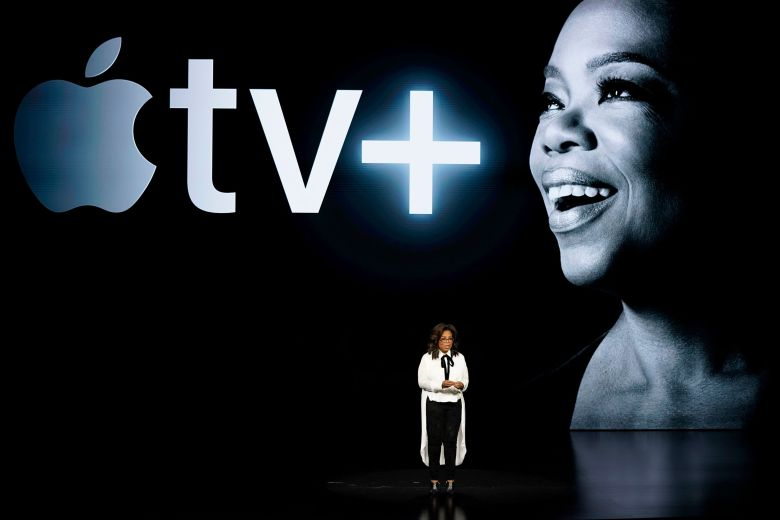 Oprah Winfrey speaks at the Steve Jobs Theater during an event to announce new Apple products, in Cupertino, CalifApple Streaming TV, Cupertino, USA - 25 Mar 2019