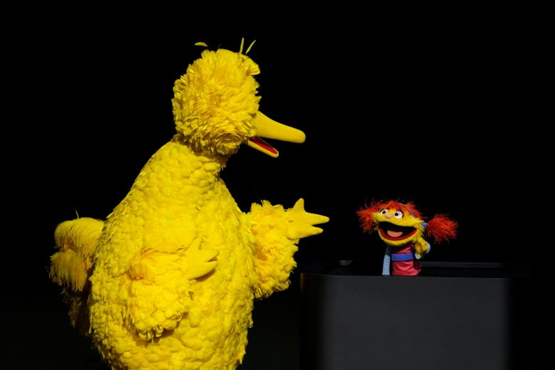 "Characters from ""Sesame Street"" Big Bird, left, and Cody perform at the Steve Jobs Theater during an event to announce new Apple products, in Cupertino, CalifApple Streaming TV, Cupertino, USA - 25 Mar 2019"