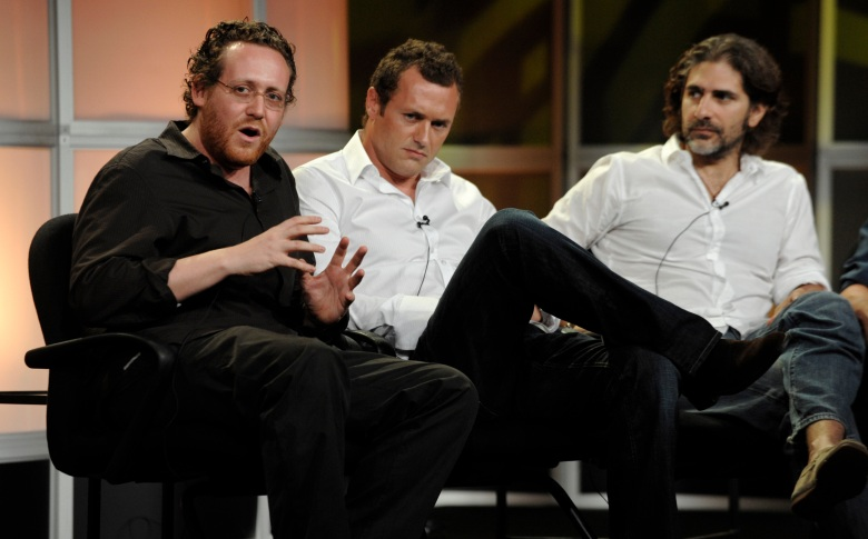 """Josh Appelbaum, Michael Imperioli, Jason O'Mara Josh Appelbaum, left, executive producer of the ABC series """"Life on Mars,"""" answers a question as cast members Jason O'Mara, center, and Michael Imperioli look on during the Television Critics Association summer press tour in Beverly Hills, CalifSummer TCA Tour ABC, Beverly Hills, USA"""