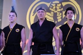 """Jacob Bertrand, William Zabka, and Xolo Maridueña, """"Cobra Kai"""""""