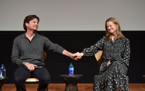 "LOS ANGELES, CALIFORNIA - APRIL 07: Jason Bateman and Laura Linney speak onstage during the Netflix ""Ozark"" screening & reception at the Linwood Dunn Theater on April 07, 2019 in Los Angeles, California. (Photo by Emma McIntyre/Getty Images for Netflix)"