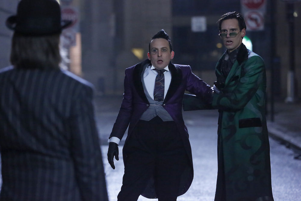"GOTHAM: L-R: Robin Lord Taylor and Cory Michael Smith in the ""The Beginning..."" series finale episode of GOTHAM airing Thursday, April 25 (8:00-9:00 PM ET/PT) on FOX. ©2019 Fox Media LLC Cr: FOX"