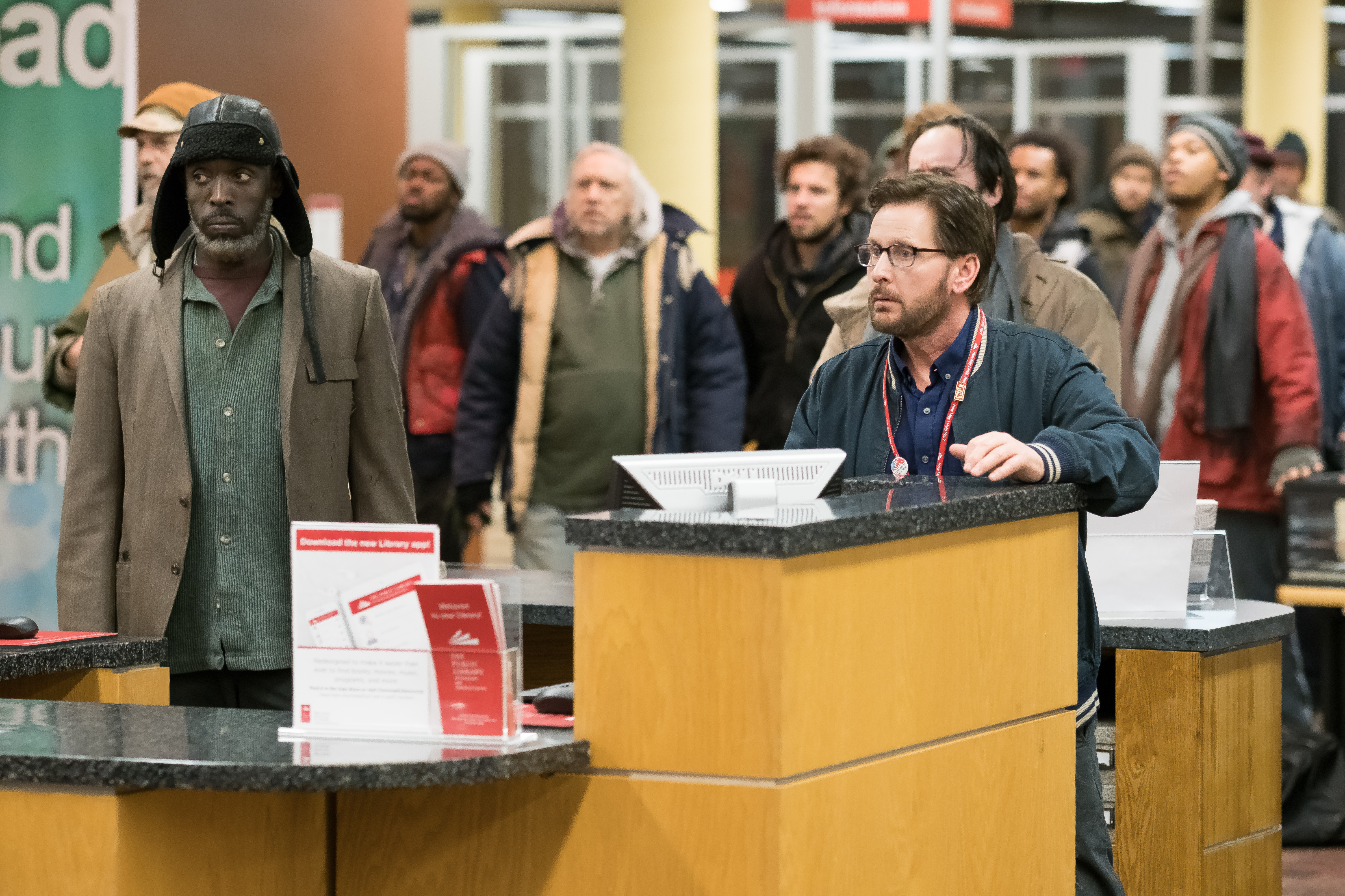 "Michael K. Williams plays one of the homeless men who seek shelter in the Cincinnati Public library in ""The Public."""