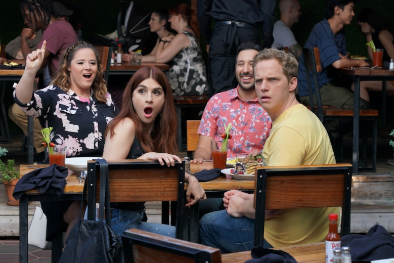 "YOU'RE THE WORST -- ""Bachelor/Bacheloret te Party Sunday Funday"" - Season 5, Episode 9 (Airs March 6, 10:00 pm e/p) Pictured (l-r): Kether Donohue as Lindsay, Aya Cash as Gretchen, Desmin Borges as Edgar, Chris Geere as Jimmy. CR: Byron Cohen/FXX"
