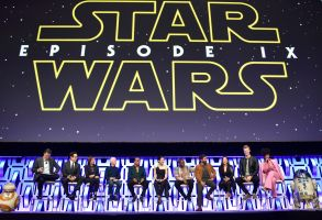 "Stephen Colbert, J.J. Abrams, Kathleen Kennedy, Anthony Daniels, Billy Dee Williams, Daisy Ridley, John Boyega, Oscar Isaac, Kelly Marie Tran, Joonas Suotamo, Naomi Ackie. Stephen Colbert, from left, J.J. Abrams, Kathleen Kennedy, Anthony Daniels, Billy Dee Williams, Daisy Ridley, John Boyega, Oscar Isaac, Kelly Marie Tran, Joonas Suotamo and Naomi Ackie participate during the ""Star Wars: The Rise Of Skywalker"" panel on day 1 of the Star Wars Celebration at Wintrust Arena, in ChicagoStar Wars Celebration - Day 1, Chicago, USA - 12 Apr 2019"