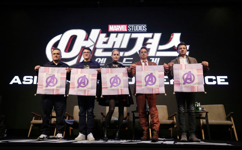 "Jeremy Renner, Robert Downey Jr., Brie Larson, Anthony Russo, Joe Russo. From right, actor Jeremy Renner, actor Robert Downey Jr., actress Brie Larson, director Anthony Russo and Joe Russo pose together during the Asia Press Conference to promote their latest film ""Avengers Endgame"" in Seoul, South Korea, . The movie will open on April 24 in South KoreaFilm Avengers, Seoul, South Korea - 15 Apr 2019"