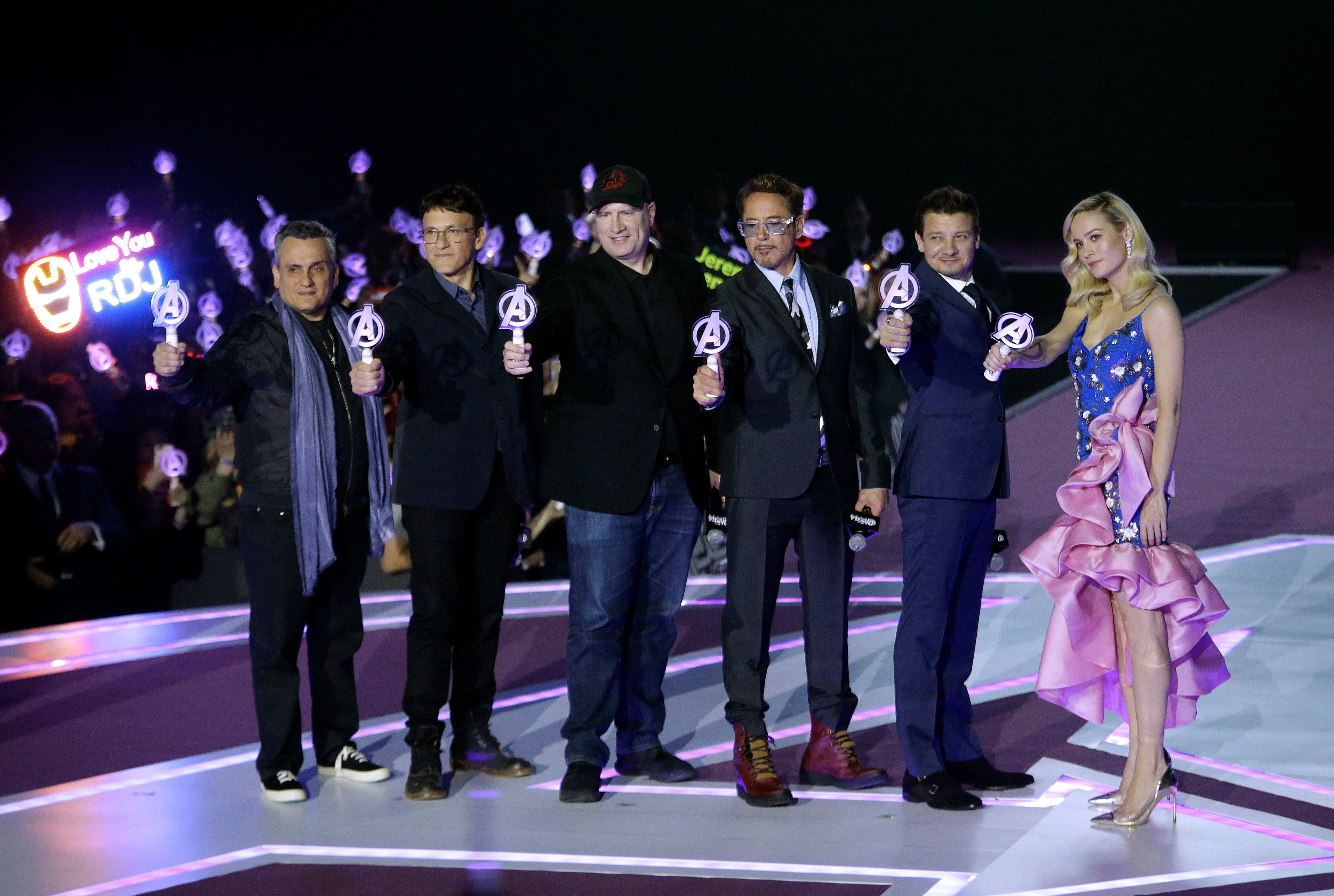 "Jeremy Renner, Brie Larson, Robert Downey Jr., Anthony Russo, Joe Russo, Kevin Feige. From right, actress Brie Larson, actor Jeremy Renner, actor Robert Downey Jr., President of Marvel Studios Kevin Feige, director Anthony Russo and Joe Russo pose during an event to promote their latest film ""Avengers Endgame"" in Seoul, South Korea, . The movie will open on April 24 in South KoreaAvengers, Seoul, South Korea - 15 Apr 2019"
