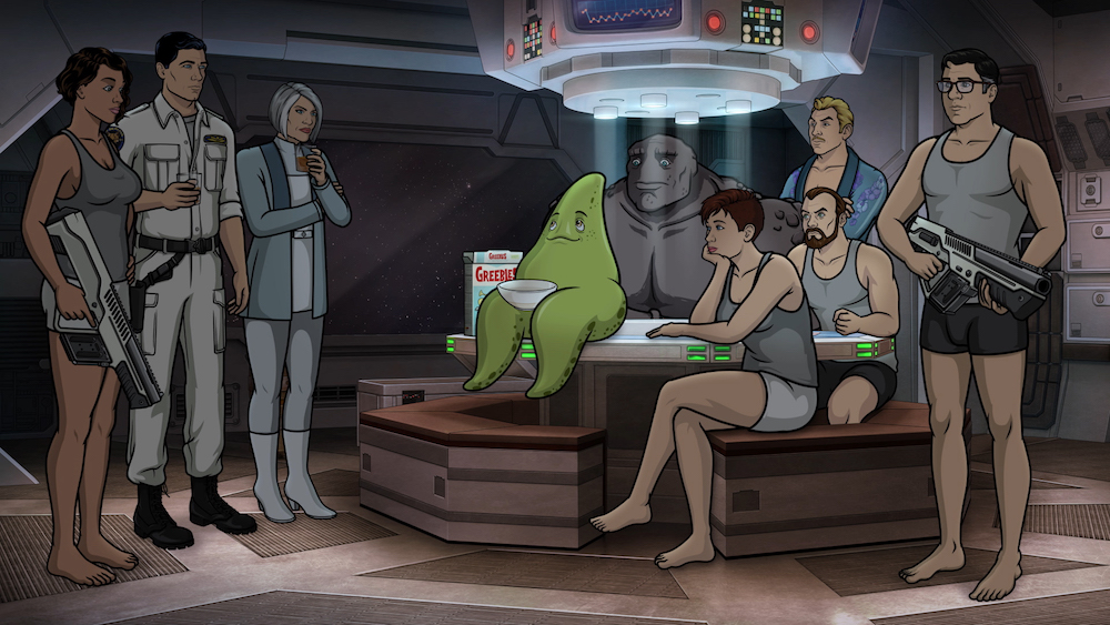 "ARCHER: 1999 -- ""Bort the Garj"" -- Season 10, Episode 1 (Airs Wednesday, May 29, 10:00 p.m. e/p) Pictured (l-r): Lana Kane (voice of Aisha Tyler), Sterling Archer (voice of H. Jon Benjamin), Malory Archer (voice of Jessica Walter), Bort (voice of Sam Richardson), Pam Poovey (voice of Amber Nash), Cheryl/Carol Tunt (voice of Judy Greer), Algernop Krieger (voice of Lucky Yates), Ray Gillette (voice of Adam Reed), Cyril Figgis (voice of Chris Parnell). CR: FXX"