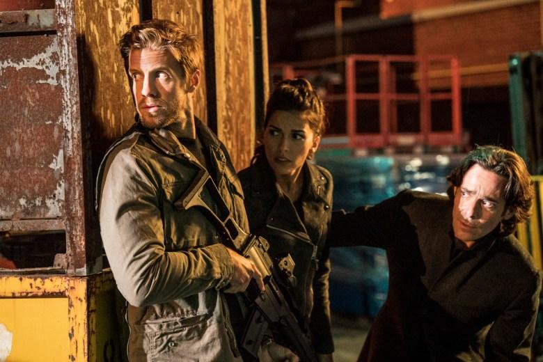 "Matt Barr, Sofia Pernas, and James Callis in ""Blood and Treasure."""