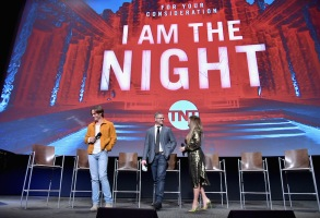 "NORTH HOLLYWOOD, CA - MAY 09:  (L-R) Chris Pine, Sam Sheridan and Patty Jenkins speak onstage at TNT's ""I Am The Night"" FYC Event on May 9, 2019 in North Hollywood, California.  (Photo by Emma McIntyre/Getty Images for WarnerMedia)"